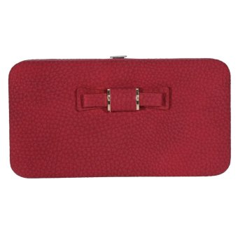 Fashion Ladies Long Clutch Wallet Card Holder Multi-functional Phone Coin Pouch Purse(Burgundy) - intl