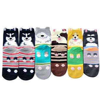 6 Pair Unisex Mens Women Cartoon Dog Pattern Socks Cotton Socks for US 6-11 Random Style - intl