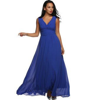 Cyber ANGVNS Women V Back Drape Ruched Waist Evening Party Dress Long Maxi Chiffon Dress (Blue) - Intl - Intl