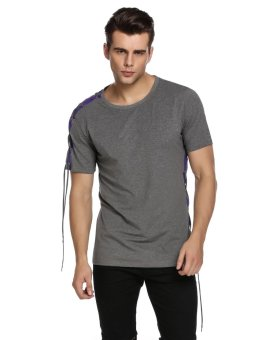 Cyber Mens Casual O-Neck Short Sleeve Bandage Drawstring Basic T-Shirt ( Grey ) - intl