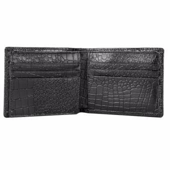 Bộ ví và thắt lưng nam da bò thật LAKA đen cá sấu + Tăng 01 thắt lưng nam da bò LAKA (Nâu trơn) trị giá 300000