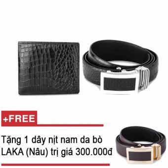 Mua Bộ ví và thắt lưng nam da bò thật LAKA đen cá sấu + Tăng 01 thắt lưng nam da bò LAKA (Nâu trơn) trị giá 300000 giá tốt nhất