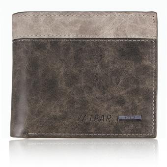 Men's Leather Bifold Wallet Holder Purse Clutch Pockets Gray (Intl)