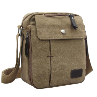 Unisex Women Men Canvas Multi-function Outdoor Sport Camping Hiking Travel Small Shoulder Bag Crossbody Bag Message Bag Khaki