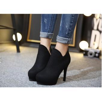 Giày boot cao gót nỉ S389