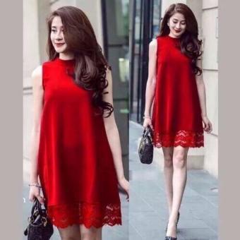 Đầm suông phối ren dịu dàng (đỏ)