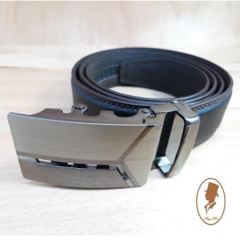 (Hugeman) Thắt lưng dây nịt nam da thật màu nâu may viền 2 bên TL00149