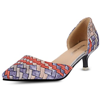 Fashion Colorful Pointed Toe Side Empty Low Heel Shoes For Women - intl