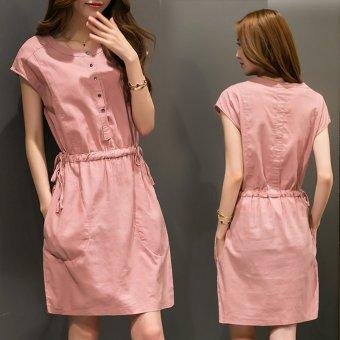 Đầm suông Hàn Quốc có dây thắt eo 104_màu hồng