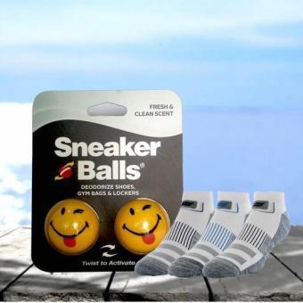 Combo 3 đôi vớ nam Sport Sofsole Grey và bóng khử mùi kháng khuẩn Sneaker balls Happy face-Int: One size