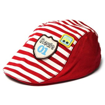 Cute Baby Infant Boy Girl Stripes Cotton Baseball Cap Peaked Beret Hat Casquette Bright Red - intl