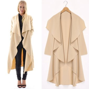 GAMISS Woman Polyester Big Lapel Casual Long Coat (Apricot) - intl