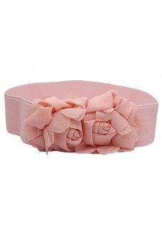 Fancyqube New Lady Vintage Flower Elastic Stretch Sequin Wide Waist Belt Waistband Bowknot Pink - Intl