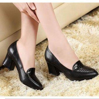 Giày gót vuông phối vân cá-Nâu