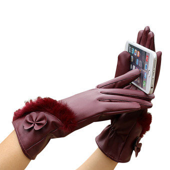 Women Leather Winter Super Warm Gloves Cashmere Red