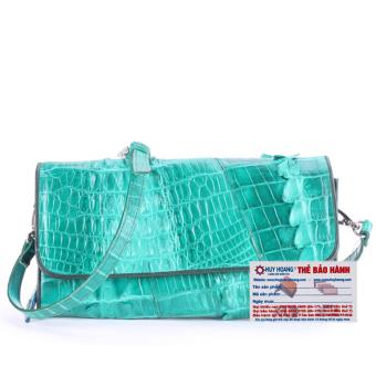 HL6252 - Túi xách nữ da cá sấu Huy Hoàng đeo chéo 2 gai màu xanh lá