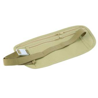 OH Travel Pouch Hidden Zippered Waist Compact Security Money Waist Belt Bag Khaki - Intl