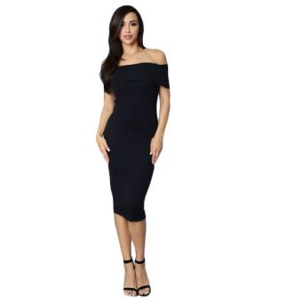 Slim Slash Three Color Woman Dress (Black) - intl