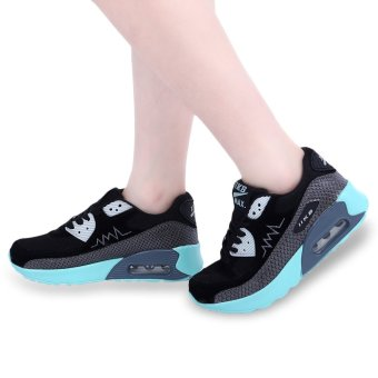Casual Color Block Patchwork Design Sports Shoes(Blue and Black) - intl