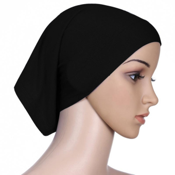 Women Muslim Mercerized Cotton Soft Adjustable Head Wrap Cover Inner Hijab Bonnet Cap Hat Black - intl