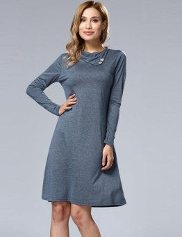 Sunweb Fashion Women Slit Turn Down Collar Long Sleeve Solid Casual A-Line Tunic Dress ( ) - intl