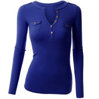 Fancyqube Women Summer Autumn Double Pocket V-collar Button Full Sleeve T-shirts Blue - Intl - intl
