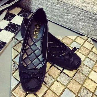 Giày búp bê caro phối nơ xinh phôm êm diệu ko đau chân-101 (Đen)
