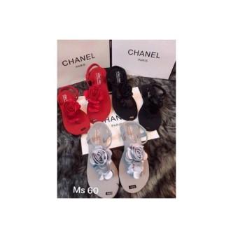 Giày sandal MYS chữ Y hoa hồng vải bóng màu XÁM