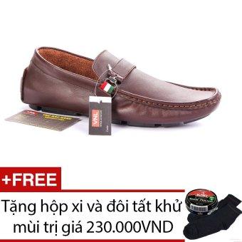 Giày lười da thật nam Da Giày Việt Nam VNLLZ26AZA724QN (Nâu) + Tặng hộp xi và đôi tất khử mùi