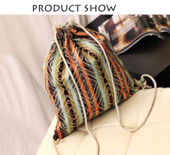 Ethnic Backpack Stripe Geometric Print DIY Strap Drawstring Canvas Vertical Bag(Yellow) - intl