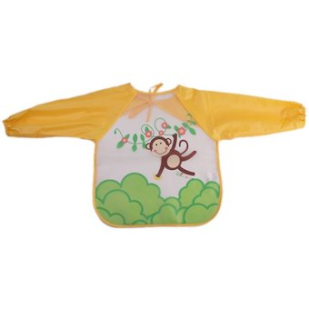 Lalang Kids Pinafore Cartoon Printed Anti-dressing Smock Monkey (Yellow) - intl