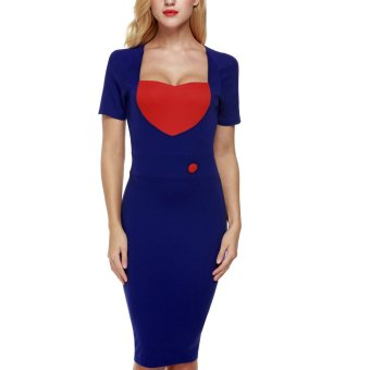 Cyber ANGVNS Women Short Sleeve Bodycon Casual Party Midi Dress (Red/Blue) - Intl