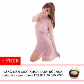 Váy ngủ ren cổ yếm hồng nhạt tặng kèm móc khóa baby đội nón Kmfashion