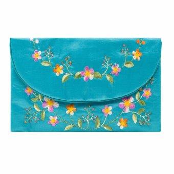 Ví cầm tay nắp thư Hoian Gifts vải lụa thêu hoa (Xanh ngọc) HA-51M