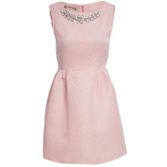 Women Ball Gown Dress Necklace Round Collar Pure Color (Pink) - Intl
