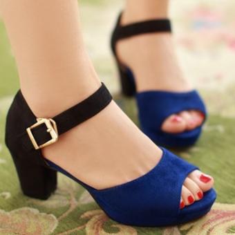 Giày gót vuông CG86GX (Xanh)