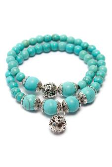 Vòng tay chuỗi hạt đá Turquoise Tỏi's Accessories (Xanh)