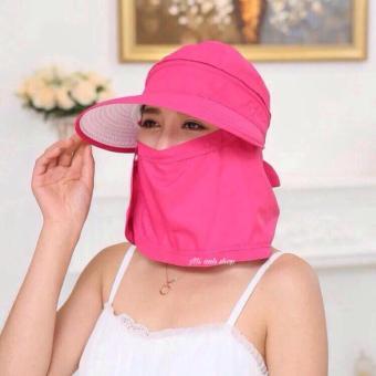 Mũ(nón) tránh nắng kèm khẩu trang 0502-hồng đậm