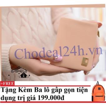 Mua Ví cầm tay vuông nhỏ nhắn cho nữ CDVN02 (hồng phấn) + Tặng kèm balo du lịch gấp gọn giá tốt nhất