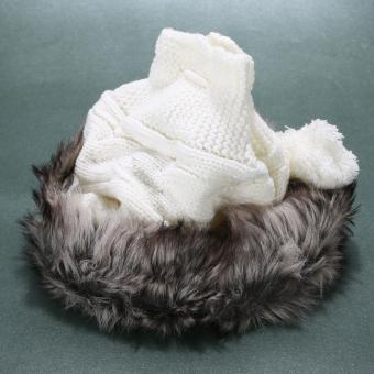 2015 Hot sell Women Knit Hat Winter Warm Crochet Hat Rabbit Scarf White (Intl)