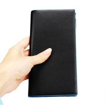 Men Long section Bifold Business Leather Wallet Card Holder Coin Wallet Purse Black - intl