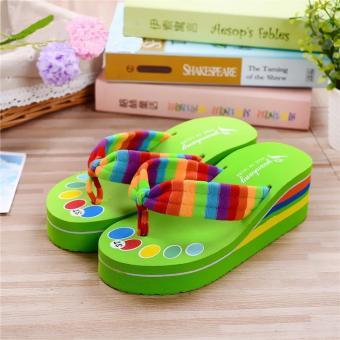 Women Anti-slip Flip Flops Beach Slippers Platforms Sandals New Fashion Colorful GREEN - intl
