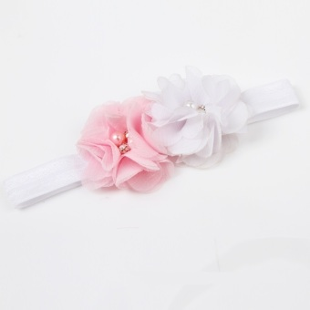 Fancyqube Polyester Fiber Soft Elastic Flower Shaped Baby Girls Hairband Charming Hair Accessories Pink/White