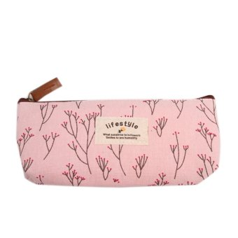 Fancyqube Floral Canvas Pencil / Stationery Bag Pink