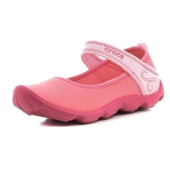 Giày xăng đan trẻ em Unisex Crocs Duet Busy Day Mary Jane GS Coral Ballerina Pink 15352-6GT (Hồng)