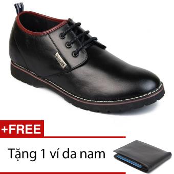 Giày nam công sở tăng chiều cao SMARTMEN GD1-05 (Đen) + Tặng 1 ví da nam