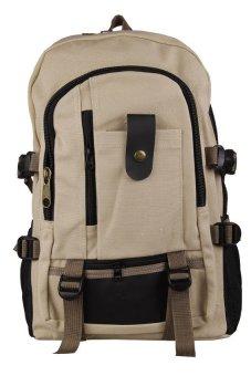 HKS Men Canvas Backpack Shoulder Outdoor Camping Travel School Student Bag Rucksack Light khaki - intl