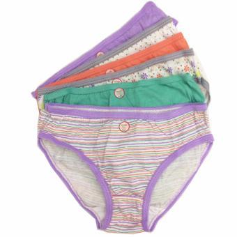 Bộ 6 quần lót - quần chíp bé gái cotton Thái Lan-MS01