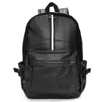 Rucksack Leather Men School Satchel Shoulder Bag Backpack Black - intl
