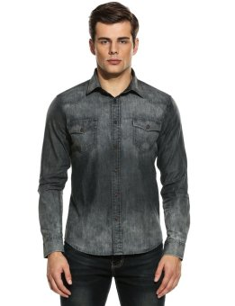 Linemart Men Slim Long Sleeve Button Down Denim Casual Shirts ( Grey ) - intl